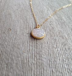 Small Round Druzy Necklace with Dainty 14K Gold Filled Chain - Minimalist Layering Necklaces - Gift Box by MuffyandTrudy on Etsy