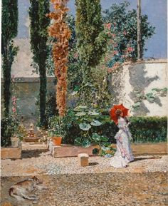 Fortuny Y Marsal, Mariano,Madrazo Y Garreta, Raimundo De - The Garden Of The Fortuny Residence Ends Of The Earth, Framed Prints, Canvas Prints, Pink Elephant, Chinese Art, Wood Print, Art Boards, Art History, Oil On Canvas