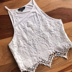 93cd6a0b9f22 New Look White Lace/Crochet Crop Top Such a flattering shape on the  neckline and. Depop