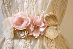 Organza Rose Flower Wedding Sash in Champagne Blush by ProjectU, $35.00