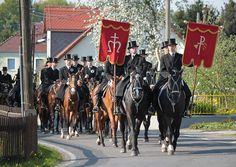 Up to 500 Riders take part in this Easter Procession in Germany. Most of Serbian heritage this custom is celebrated in the Eastern parts of Germany. (Jutrowne jěchanje - Osterreiten or Easter Ride) in Upper Lusatia, East Germany . Old tradition of Easter procession of pairs of riders wearing black tailcoats and top hats on ornated horses bringing the good news that Jesus Christ has risen started in the 15th century. It is beautiful & overwhelming to watch this age old tradition live on.