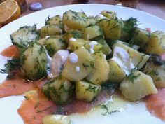 Mijn vrouw haar heerlijke zalm met dille aardappels en mierikswortel