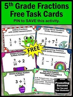 You will download FREE printable task cards for teaching students Common Core fractions. They work well in 5th grade (upper elementary) math centers or stations for SCOOT games or other fun teaching activities for kids. Ideas are included. Teachers may use them as a review, test prep, formative assessment or as extra practice for special education. Skills include adding and subtracting fractions, word problems, multiplication and division.