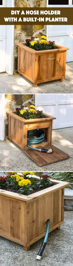 DIY Pallet Wood Hose Holder with Planter | 19 Inspiring DIY Pallet Planter Ideas
