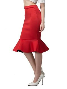 Shop Red Midi Pencil Skirt With Flounce Hem from choies.com .Free shipping Worldwide.$17.9