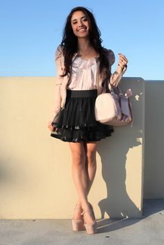 I don't know about the skirt and the jacket but i would def. do the heels the purse and the shirt :)