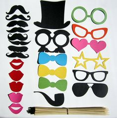 Photo Booth cutouts | Photo Booth Props 25 Piece DIY Kit by PropsOnSticks on Etsy