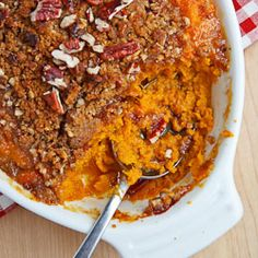 Sweet Potato Casserole with Pecan Crumble.  I am going to sub coconut milk & coconut oil for the dairy items--I think it could be really yummy and still be dairy/soy/egg/gluten free!