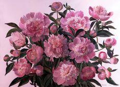 Watercolor Mixing, Watercolor Disney, Watercolor Flowers, Watercolor Paintings, Watercolour, Watercolor Techniques, Flower Art, Art Flowers, Pink Peonies