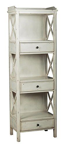Bring the look of antique furniture into your décor by incorporating this wooden bookcase to any room. Its shabby chic finish in white gives it a rustic look. With three drawers that also double as shelves, there's no limit to what you can display on it. Bookcase With Drawers, 3 Shelf Bookcase, Wooden Bookcase, Etagere Bookcase, Bookshelves, Bookcase White, Wood Drawers, Vintage Bookshelf, Coastal Furniture