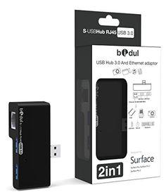 """HUB 2 ports USB3.0 + prise réseau Ethernet RJ45 Super rapide LAN Gigabit Ethernet 10/100/1000. Pour Surface Pro, Surface Pro 2, Surface Pro 3 , Surface 3 . Produit sous licence Microsoft """"Designed for Surface"""" BIDUL http://www.amazon.fr/dp/B00OLO716C/ref=cm_sw_r_pi_dp_R4Rcwb0BW6PN5"""