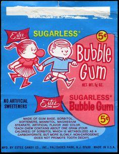 Estee Candy - Sugarless Bubble Gum - pack wrapper - by… Retro Cartoons, Vintage Cartoon, Retro Ads, Vintage Advertisements, Retro Vintage, Vintage Packaging, Vintage Labels, Vintage Posters, Candy Packaging