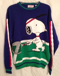 Vintage Peanuts Ditfort Snoopy & Friends Ugly Tennis Sweater Cotton Medium EUC