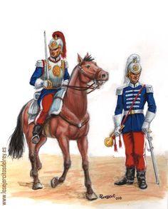 Regimiento del Rey. Coracero y Trompeta. 1860