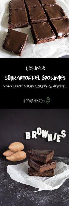 Gesunde Süßkartoffel Brownies- keine Butter, Eier, Haushaltszucker & Weißmehl... Super lecker!! Unsere Lieblingsbrownies!