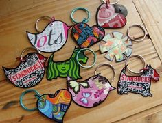 repurpose gift cards to make ornaments | ... artistic flair she used old gift cards to make these key chains she