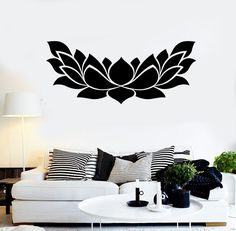 Vinyl Wall Decal Lotus Flower Yoga Center Floral Stickers Mural (465ig)