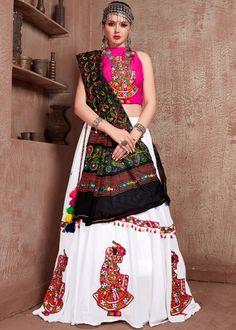 #white #embroidery #navaratri #lehenga #choli #dupatta #designs # traditional #indian #outfits #gorgeous #wedding #look #ootd #new #arrival #womenswear #online #shopping Cotton Lehenga, Lehenga Choli, Silk Dupatta, Silk Dancing, Navratri Special, Choli Designs, Party Wear Lehenga, Silk Material, Colourful Outfits