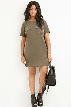 Plus Size Pocket Shift Dress