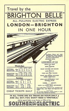 England - Sussex - Brighton - Travel by the Brighton Belle - Southern Railway advert illustrated by Pat Keely, 1934 Brighton Belle, London Brighton, Brighton And Hove, Train Posters, Railway Posters, Pullman Car, British Travel, Southern Railways, By Train