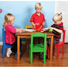 tot tutors kids table and set primary wood natural wood finish table accented with 4 colorful child size chairs - Tot Tutors Book Rack Primary Colors
