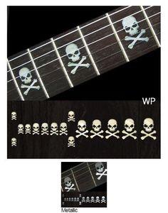 Sideways Skull w/Crossbones Fret Markers Inlay Sticker Decals