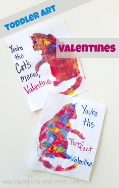 Cat Print Valentine Cards for toddlers!