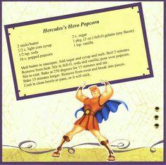 Hercules' Hero Popcorn - Disney Recipe Swap by NancyLuvsMickey - Cards and Paper Crafts at Splitcoaststampers Retro Recipes, Old Recipes, Vintage Recipes, Cookbook Recipes, Disney Themed Food, Disney Inspired Food, Disney Drinks, Disney Desserts, Backgrounds