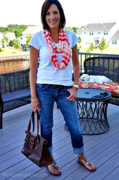 I like this simple look. I have similar jeans, would need a good quality tee and great sandals. Scarfs, no problem.