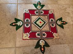 Rangoli Acrylic Rangoli Red and Green Diya by JustForElegance