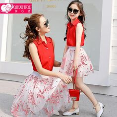 0938c690164 Parents loaded summer 2017 new tide women s suit suit floral yarn skirt  skirt Korean version of the two-piece fashion. Mother Daughter ...