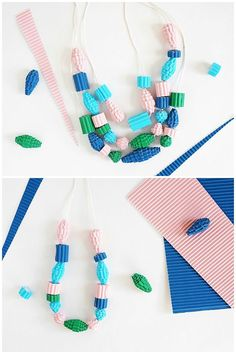 Make a beautiful paper necklace and DIY Corrugated Paper Bead Necklaces. Learn this simple technique for turning paper into beads! The perfect kids and adults necklace to show off.