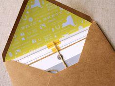 kraft envelope + twine + cool custom liner