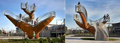 michel de broin has created dendrites, a pair of public sculptures in the city of montreal that recall the shape of massive tree trunks. Giant Tree, Public, Of Montreal, Tree Trunks, Pedestrian, Michel, Sculptures, Fair Grounds, Walkways
