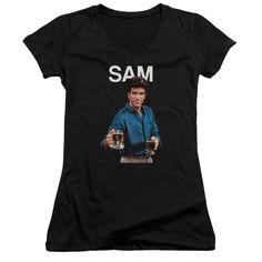 Cheers Sam Black Womens V-Neck T-Shirt