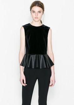 Black Sleeveless Contrast PU Leather Ruffle Blouse