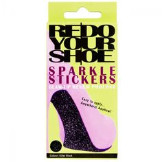 Sparkle Stickers - Killer Black - STICKER FOR THE SOLE, HEEL OR TO BE CUT INTO SHAPES 2 SHEETS OF 11X30CM IN EACH PACKAGE  Sparkle Stickers is a weather resistant sticker that can be placed anywhere, anyhow you wish! Sparkle Stickers are a fantastic way to glam up and renew your favorite flats, stilettos or wedges- or add some colour to your wedding shoes. Cover the heel or sole or cut shapes like stars and stripes. Say bye-bye to those old and dull looking shoes and hello to your new…