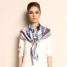 Summer Purple Silk Scarf for Women