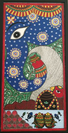 Majestic devoting auspicious milk to lord Shivas lingam which is protected by Snake, fishes from pond are appreciating this devotion ! Snake Painting, Worli Painting, India Painting, Indian Artwork, Indian Folk Art, Madhubani Art, Madhubani Painting, Shiva, Elephant Gun
