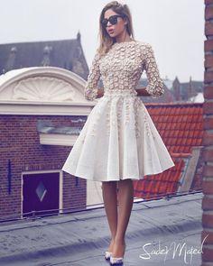 27 Amazing Short Wedding Dresses For Petite Brides ❤ short wedding dresses floral appliques with sleeves sadek majed couture #weddingforward #wedding #bride #weddingoutfit #bridaloutfit #weddinggown