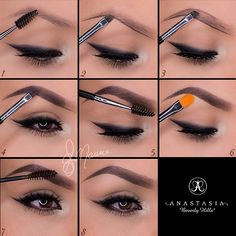 "#ShareIG A set by step brow routine by @elymarino using Dipbrow.  Thank you gorgeous love this  1.Start by taking the spoolie side of the double sided brush #12 and comb through the brow hairs  2.Taking Dipbrow in ""Ebony"" with the same brush, line the bottom of the brow following your own natural shape!  3.For a more defined brow, line the top of the brow  4.Fill in the empty space with light strokes and in the direction of the hair! Stop about three quarters of the way in  5.With what is ....."