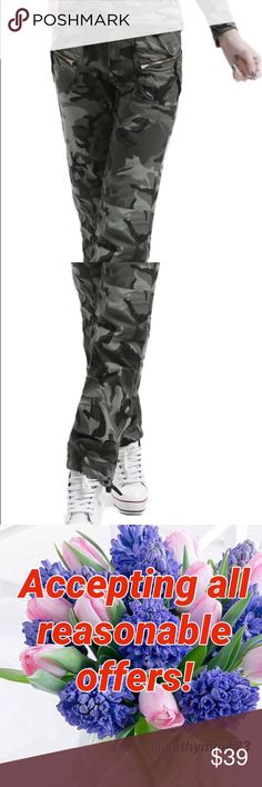"Women's camouflage pants NWT. Size M. Measurements: flat waist 13"", rise 12"", length 38"".  I'd love to answer your questions regarding to the item.  Also love to give discounts for bundles. I always ship safely and quickly. Also, feel free to make a reasonable offer if you love the item but not the price. Usually offers make deals!🤗 Pants"