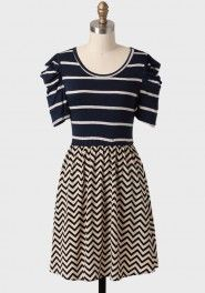 state fair colorblocked striped dress in navy