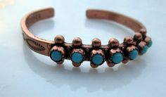 Vintage Copper Turquoise Baby child Cuff by Holliezhobbiez on Etsy, $20.00