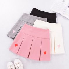Fashion Hearts Pleated Skirt Material:Cotton Size: S:Waist M:Waist L:Waist ●About Shipping: time: business days. Pleated Skirt Outfit Short, Skirt Outfits, Harajuku Fashion, Kawaii Fashion, Colorful Backpacks, Kawaii Clothes, Dress Sewing Patterns, Aesthetic Clothes, Mini Skirts