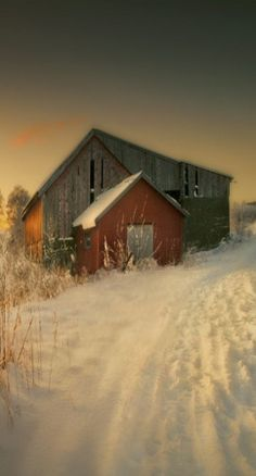 To the barn on a snow-covered road.                              …