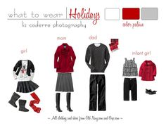 Red, White, and Grey coordinating outfits for a family portrait session. Perfect for the Christmas Holidays. What To Wear with Liz Coderre Photography