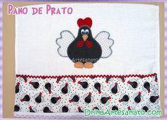 Pano de prato com galinha de Angola em patch aplique - Drika Artesanato - O seu Blog de Artesanato.