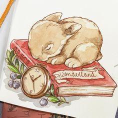 "Day 9 #doodleadayaug is ""book""  #art #watercolor #sketchbook #doodleaday #aliceinwonderland"