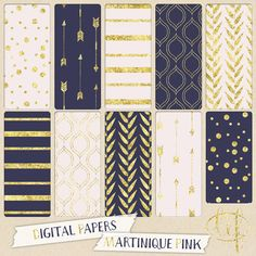 Navy blue and pink Digital papers with arrows stripes by ByLef